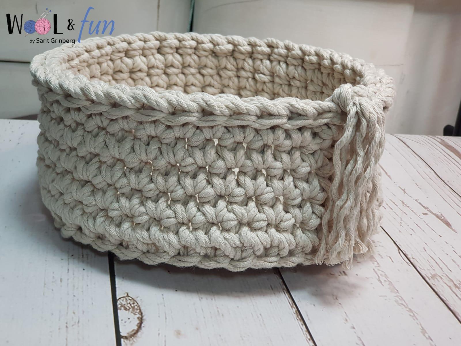 סלסלה סרוגה במסרגה אחת – Crochet Basket